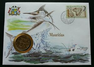 Mauritius Marine Life 1986 Fish Ocean Underwater Island Map FDC (coin cover)