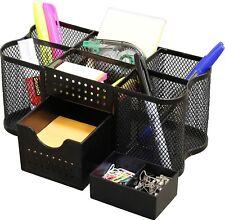 Small Desk Supplies Organizer Caddy Pen Pencil Rack Home Table Office Black New