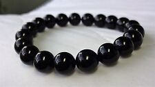 "Genuine Black Onyx Bead Bracelet for Men (On Stretch) 10mm - 8"" inch AAA Quality"