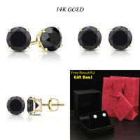 0.50CT Black Stud Diamond Earrings Real 14K Solid Yellow Gold Screw Back NEW!
