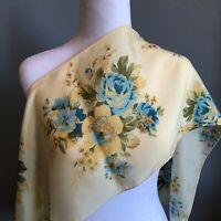 "Jacqueline Ferrar 52"" Oblong Silk Light Yellow Blue Floral Rose Scarf Vintage"