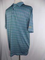Tourney Lion Golf Men's Large Green Red Black Stripe Sport Polo Shirt S/S
