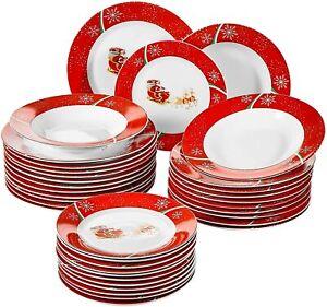 36PC Dinner Set Porcelain Crockery Christmas Deer Design Soup/Dinner Plates Gift