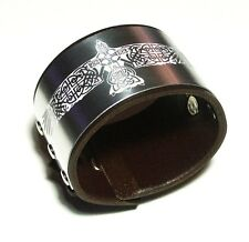 Celtic Brown Leather Cuff Wristband Bracelet adjustable-Handmade in the UK