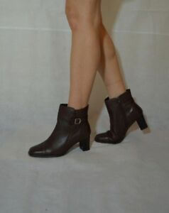 Ladies Brown Ankle Boots Booties Belt Adjustable Top Real Leather Size 5.5