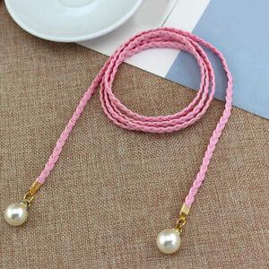 Women Belt Style Candy Color Waist Chain Hemp Rope Braided Big Pearl Dress Belt