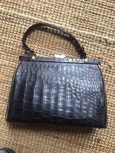 Vintage Black Crocodile skin handbag 50s/60s -offers welcome
