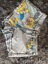vintage retro simpsons denim size 6 shorts/hot pants