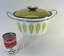 "Catherineholm of Norway Lotus Olive Green White Enamelware Casserole 8"" w/ Lid"