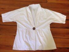 "Neon Buddha White Cotton Blend Womens Coconut Button Wrap Shirt Top XL 42"""