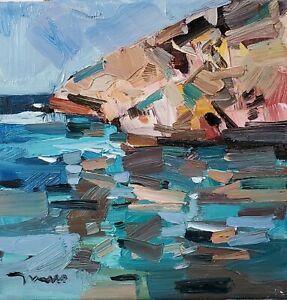JOSE TRUJILLO Oil Painting IMPRESSIONISM SEASCAPE ROCKS SHORE COLLECTIBLE ARTIST