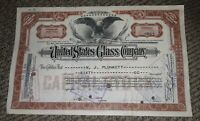 STOCK CERTIFICATE 60 Shares US UNITED STATES GLASS COMPANY CO Pennsylvania OLD!