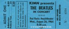 1  BEATLES VINTAGE UNUSED FULL CONCERT TICKET 1964 Red Rocks, COLO  laminated