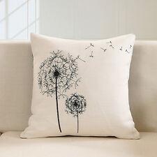 Retro Cotton Linen Dandelion Cushion Cover Throw Pillow Case Sofa Home Decor