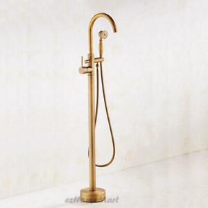 Retro Brass Floor Mount Tub Filler Faucet Free Standing Bath Tap Shower Mixer