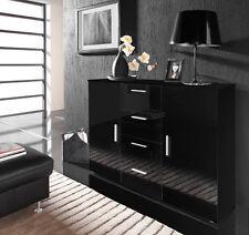 Kommode Sideboard Highboard Anrichte Schublade CAMILLA schwarz hochglanz matt