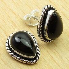 """Plated Jewellery New On Trend Bijoux Drop Black Onyx Stud Earrings 0.6"""" Silver"""