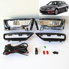 For 2013 2014 2015 Honda Accord Sedan Clear Fog Lights Kit w/ Switch Bulbs Bezel