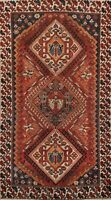 Antique Tribal Traditional Area Rug Hand-Knotted Geometric Oriental Carpet 4x7