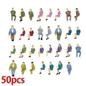 50 Pcs 1:50 Scale Seated Model People Railway Train Painted Figures O Gauge Set