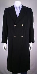 Zilli Vintage Black Cashmere 2-Btn Double Breasted Overcoat Coat Eu 48 - US 38