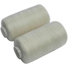 2 Bobines 500 mètres Polyester Coloris Ecru fil à coudre REF bob75-400