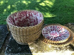 Prettiest Vintage French Wicker Toile Covered Sewing Knitting Craft Basket