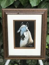 AJ  McCOY Original 1970s MODERN WATERCOLOR FRAMED MID CENTURY ART HORSE PORTRAIT