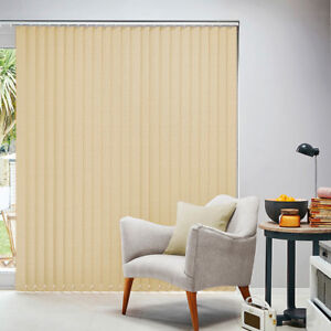 STRIPE SAND BEIGE Ready Made Vertical Blinds. Complete. 6 sizes. Can be Cut NEW
