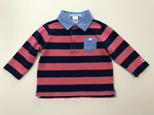 JANIE AND JACK Vintage Aviator Striped Polo Shirt Top Size 6-12 Months EUC