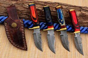 """6"""" MH KNIVES CUSTOM HANDMADE DAMASCUS STEEL LOT OF 4 HUNTING/SKINNER KNIFE LOT7F"""