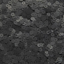 5mm Flat Sequin ~ Black Matte Silk Frost ~ Loose Paillette Made in USA