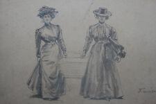 1900 Dessin original par François Courboin mode femme Paris Robes esquisse uniqu