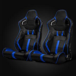 Universal Black/Blue Strip PVC Leather Left/Right Racing Bucket Seats + Slider