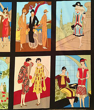 Flapper Girls fabric, 1920s Art Deco girls ladies, vintage 20s twenties panels