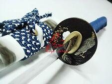 battle ready jp white katana eagle tsuba clay tempered sanmai blade sharpened