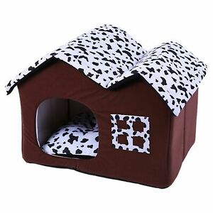 Pet House Foldable Washable Plush Dog Kennel Soft And Comfortable Double Roof