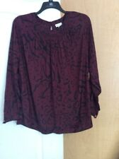 New AVA-VIV - Burgundy/Black Animal Prints Women  Tunic Top Plus Size 1X