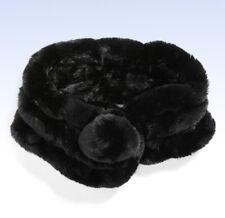 VINCENT PRADIER Genuine Rabbit Fur Scarf - BLACK