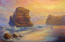 Original oil Australian landscape painting of Great Ocean road twelve apostles