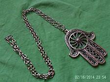 Moroccan Berber African Jewelry: Striking Hamza Necklace 'Rope Wheel' Design