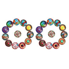 40x Flatback 10mm Round Glass Cabochon Mixed Bohemia Style Cameo Jewelry