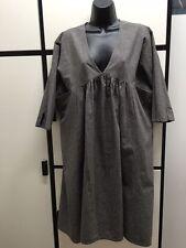 Veritecoeur Japan OS Linen Cotton Bark Mini Check Deep V Neck Smock Dress