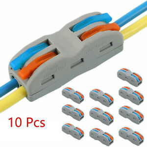 10Pcs 2/3-Way Wire Terminal Electrical Lever Connectors Block Clamp Cable Useful