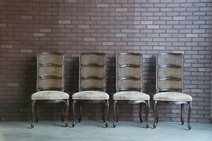 French Provincial Dining Chairs ~ Cane Ladderback Dining Side Chairs ~ Set of 4