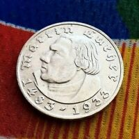 1933 D 2 Mark WWII German Silver Martin Luther Coin Third Reich 5*
