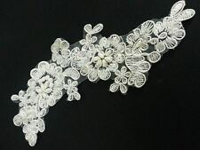 GM2-Pair 20cm IVORY Vintage Beaded LACE Sew On Flower Motifs Appliques GUIPURE