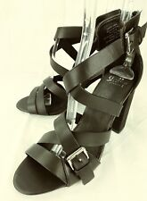 Shellys Womens Shoes High Heels US 9 Black Leather Buckle Ankle Strap Zip 2474