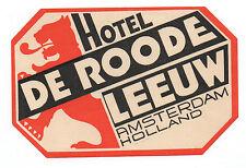 1940s Luggage Label Hotel De Roode Leeuw Amsterdam