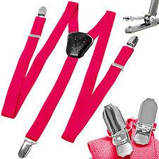 New Y back Kid's Boy's Suspender Braces adjustable strap clip on casual hot pink